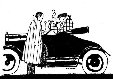 рисунок Фолкнера двое мужчин и автомобиль